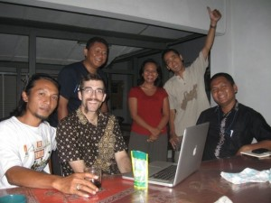 Nick and SHEEP staff gathering for some lunch table discussion in Yogyakarta Indonesia