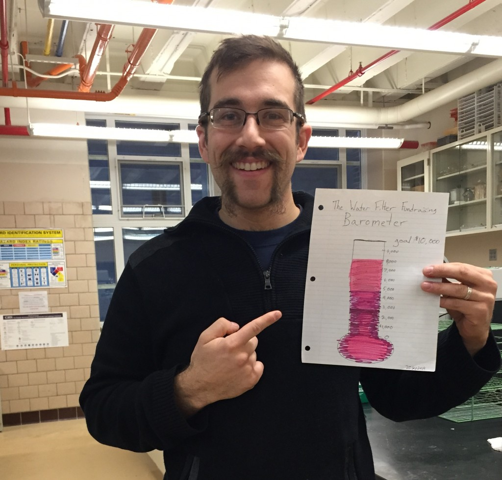 Me with the donation barometer, photo taken in Alfred University labs